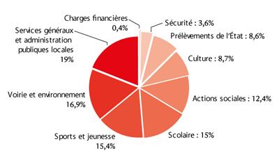Répartition des dépenses par secteur, exercice 2015