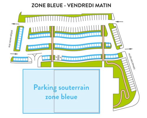 tracé de la zone bleue du parking du marché le vendredi matin