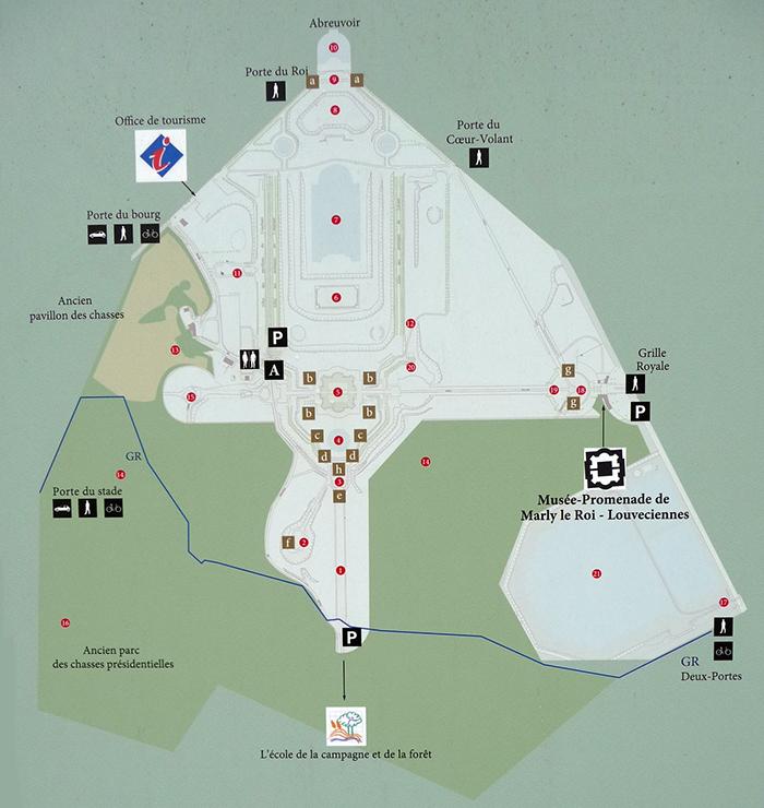 carte des accès au parc de Marly