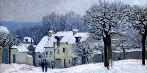La place du Chenil sous la neige de Sisley