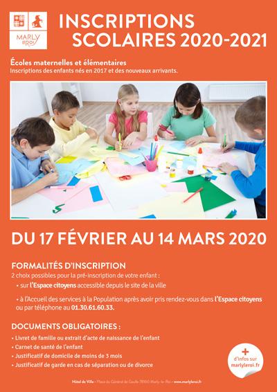 affiche pour les inscriptions scolaires 2020-2021 Ville de Marly-le-Roi