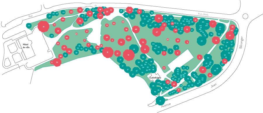 plan avec emplacement des arbres de l'arboretum de Marly-le-Roi