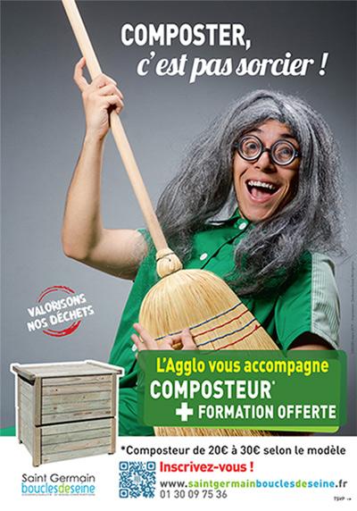 """affiche """"Composter, c'est pas sorcier"""""""