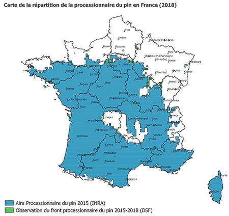 carte de répartition de la chenille processionnaire du pin en 2018
