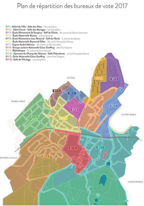 Plan de répartition des bureaux de vote 2017 à Marly-le-Roi
