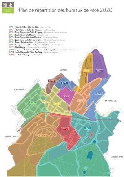Plan de répartition des bureaux de vote 2020 Marly-le-Roi