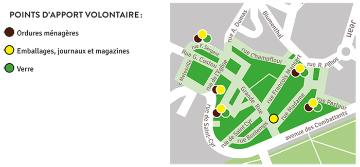 Carte secteur Village points d'apport volontaire