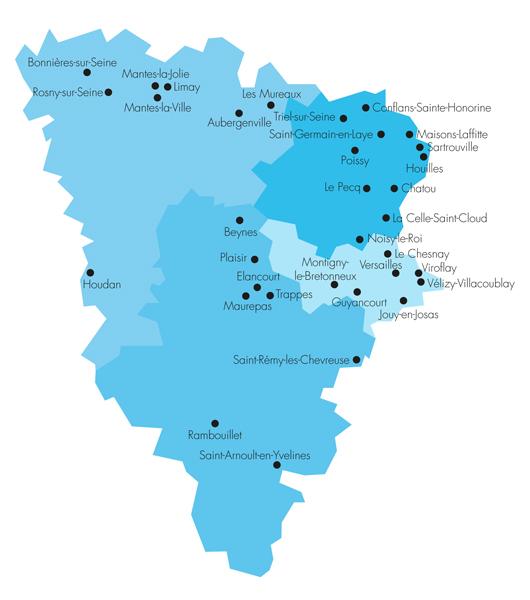 Carte des 34 mairies des Yvelines équipées du dispositif de recueil sécurisé des données