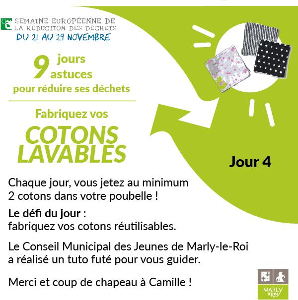 Semaine européenne de la réduction des déchets 2020.Jour 4 : fabriquez vos cotons lavables