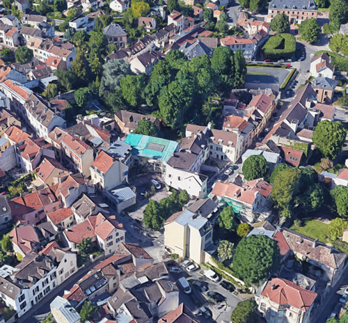 vue aérienne de l'ancien cinéma de Marly-le-Roi